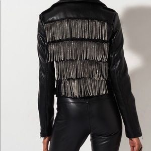 Sexy leather jacket w/rhinestones
